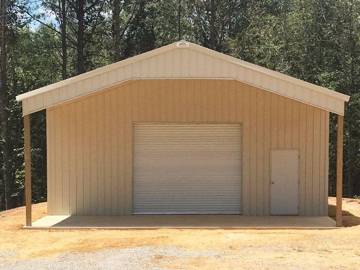 Light Stone 30x30x12 Enclosed Pole Barn w/ 12x30 Roof