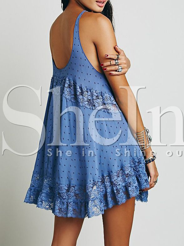 Blue Spaghetti Strap Backless With Lace Dress 14.99