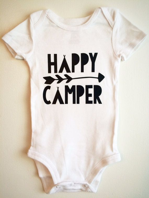 Happy Camper Baby Bodysuit. Cutest little design for your happy camper! Item is made to order and comes from a pet free, non-smoking home. White