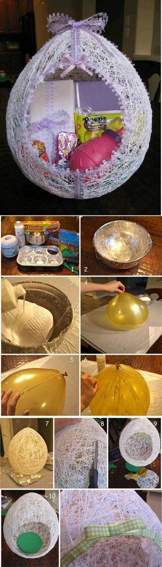 DIY Egg Shaped Easter String Basket. Am thinking would be cool for Christmas too.