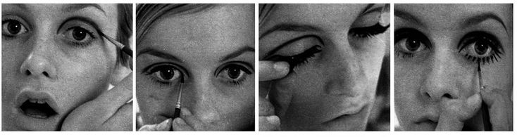 Twiggy and that 60s look: a dark defined crease line, false eyelashes and painted bottom lashes