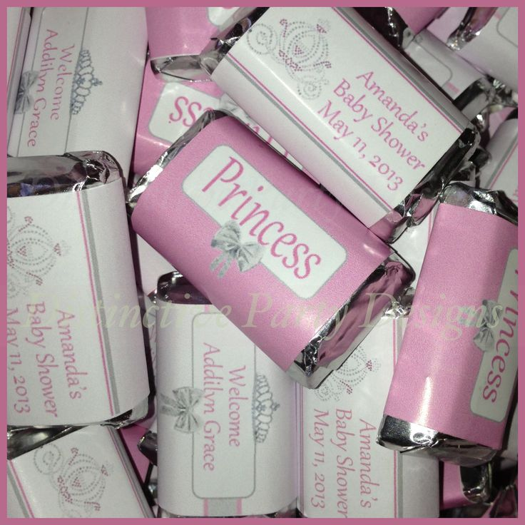 Personalized Hershey's miniature candy wrappers! Custom made for a Princess themed baby shower! By Distinctive Party Designs.  Distinctivepartydesigns@yahoo.com