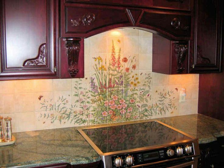 flowers floral garden scenes painted tile murals glass by julia - Matchstick Tile Garden Decoration