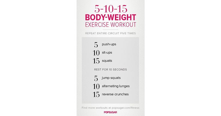 This 5-10-15 workout is the perfect starter workout for bodyweight beginners — and once you start repeating the circuit, you'll see just how effective and challenging it can be! Get the printable version of this workout poster here, and start