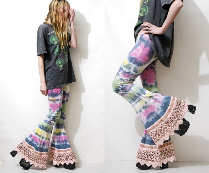 TIE-DYE Flares BELLS Crochet Macrame Fringe Edge Trim Bell Bottoms Rainbow Dyed Boho Bohemian Hippie Gypsy Pants xs
