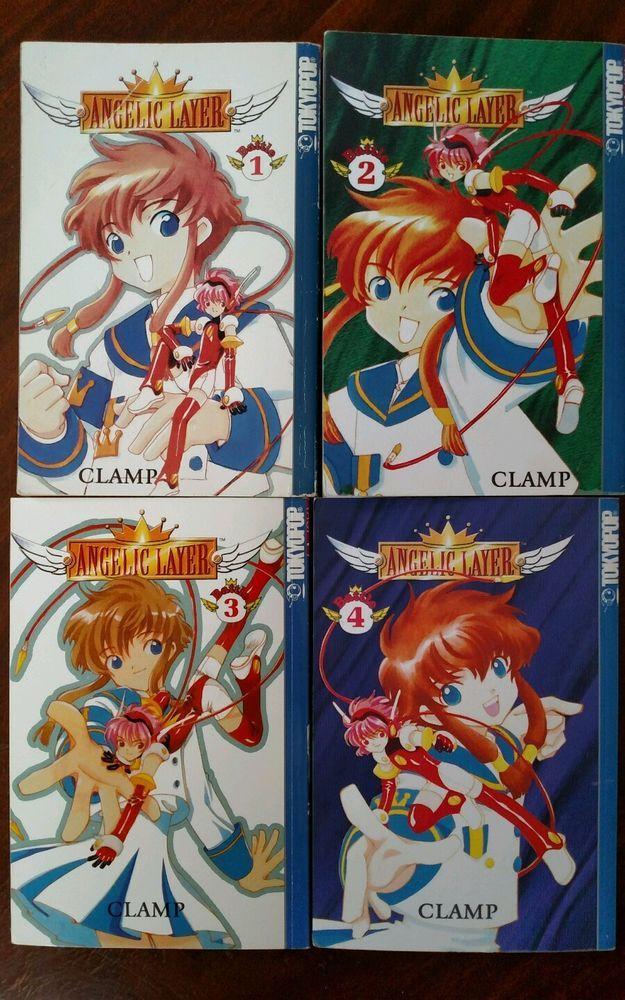 LOT of 4 Clamp ANGELIC LAYER Volumes 1-4 Tokyopop Manga Books