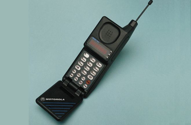 Ahead of its time, the Motorola MicroTAC was the smallest available phone when it was released in 1989. Featuring the flip-phone form later adopted by the fashionable StarTAC, the first clamshell cellular phone, the MicroTAC was 9 inches long when open and weighed only 12.3 ounces.