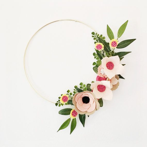 Rifle Paper Co Inspired Wreath || Wreaths || Flower Wreath || Spring Wreath || Felt Flower Wreath || Wedding Wreath || One of a kind