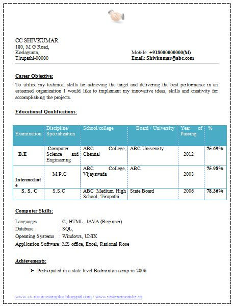 Professional Curriculum Vitae / Resume Template for All Job Seekers  Beautiful Resume Sample of an Engineer Fresher in Computer Science (SC), Professional Curriculum Vitae with Free Download in Word Doc. (2 Page Resume) (Click Read more for viewing and downloading the Sample)  ~~~~ Download as many CV's for MBA, CA, CS, Engineer, Fresher, Experienced etc / Do Like us on Facebook for all Future Updates ~~~~