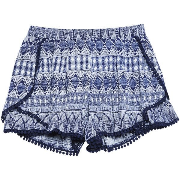 Tribal Print Pompom Trim Envelope Shorts found on Polyvore