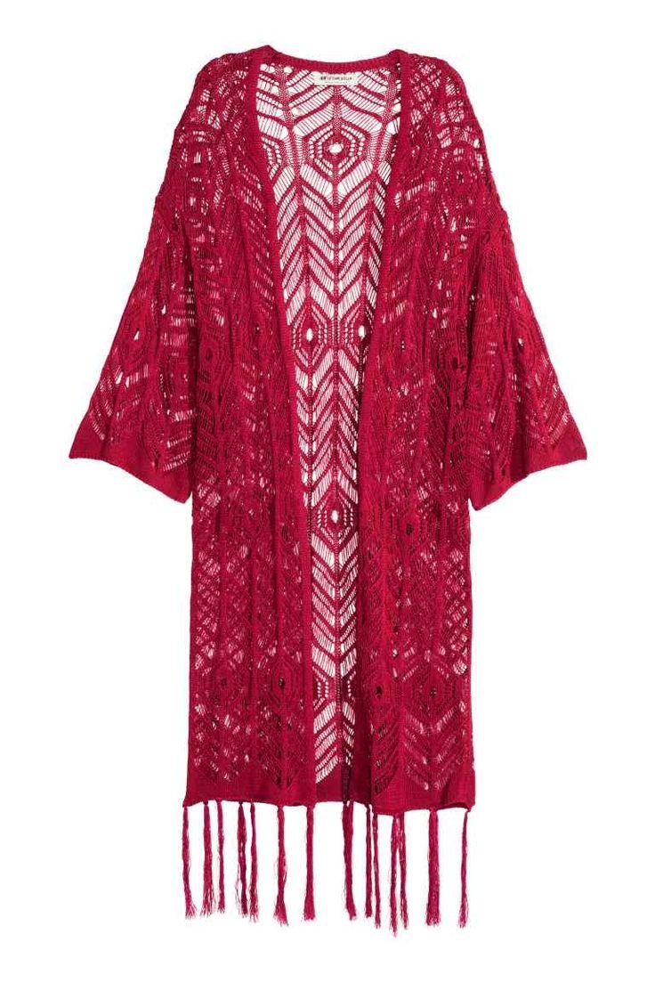フリンジレースニットカーディガン: H&M LOVES COACHELLA。レースニットのロングカーディガン。ワイドな七分袖。裾にフリンジをあしらったデザイン。ノーボタン。