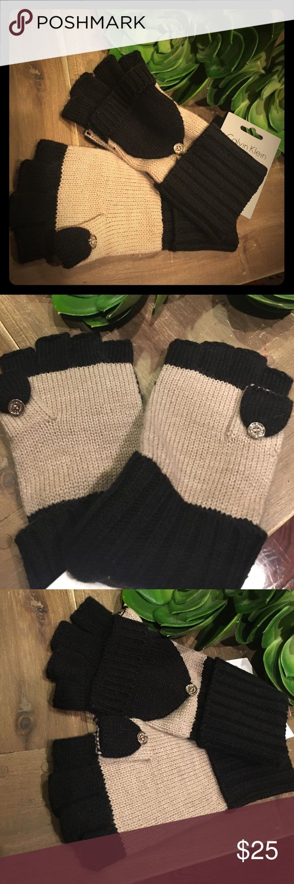 NWT Calvin Klein blk/beige gloves Featuring fold-over cover option or wear fingerless with a flip top cover   and a stylish cuffed wrist -Wear with your favorite coat and stay warm in style.Black and beige color block design 100% acrylic Machine washable Imported Calvin Klein Accessories Gloves & Mittens