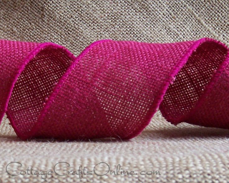 "Wired Ribbon,  2 1/2"" , Fuchsia Pink Burlap - TWO & 7/8 YARDS - Offray, #70309 Natural Jute, Rustic, Prim Wire Edge Ribbon by CottageCraftsOnline on Etsy https://www.etsy.com/listing/240387029/wired-ribbon-2-12-fuchsia-pink-burlap"