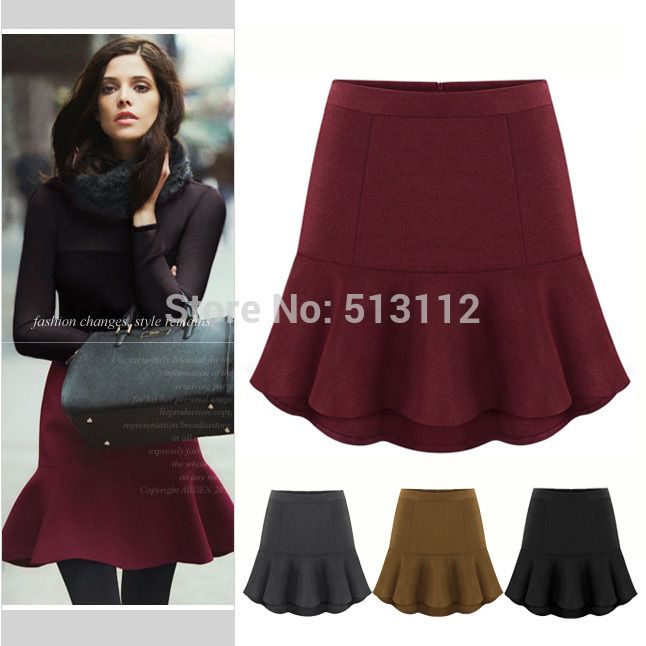 2014 Fashion Woolen Winter Short Skirts Womens Elegant Mini Mermaid Skirt S M L XL XXL wine black gray camel free shipping-in Skirts from Apparel & Accessories on Aliexpress.com | Alibaba Group