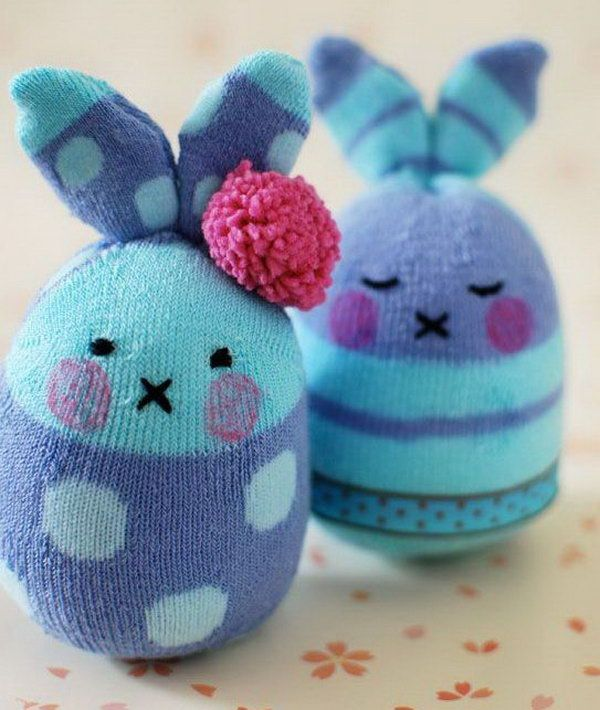 Bunny Softies Made from Socks. Can you imagine these cute bunny crafts are made from socks? It's easy to make and don't require a lot of sewing. http://hative.com/cute-easter-craft-ideas-for-kids/