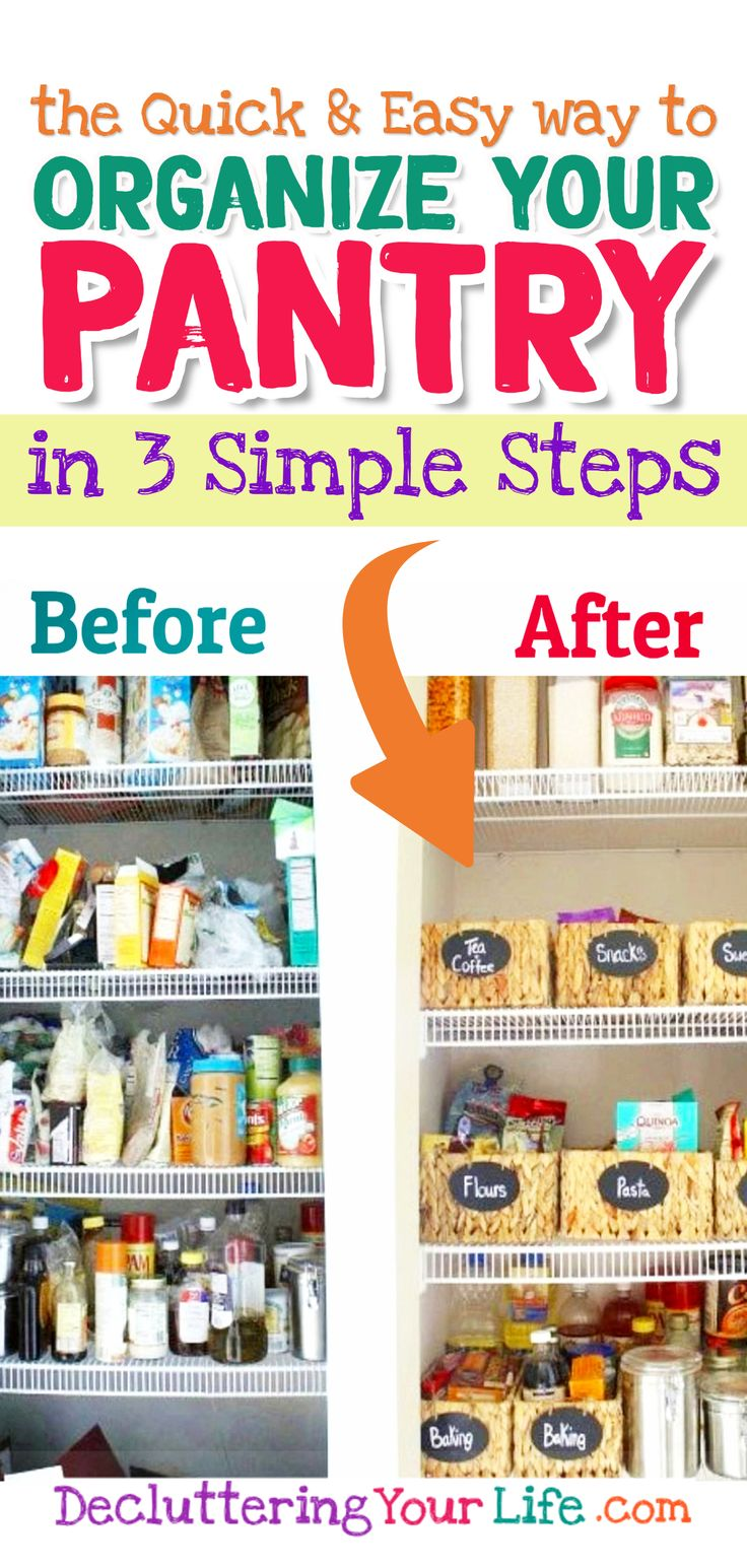 declutter your pantry organize your pantry in 3 simple steps diy pantry organization small on kitchen organization no pantry id=19272