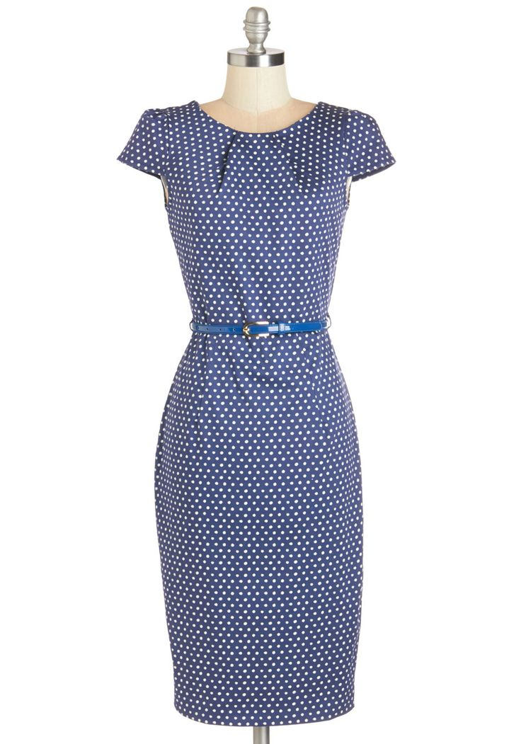 A Very Speckled Occasion Dress. Give an everyday event a novel boost when you don this polka-dot sheath from UK-based Closet. #blue #modcloth
