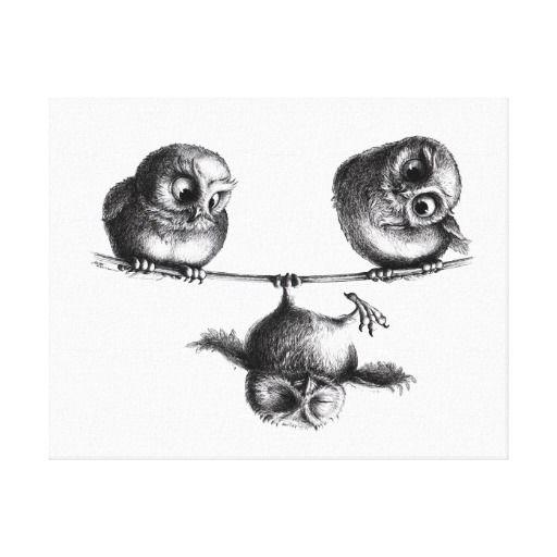 Three Owls - Freedom and Fun Canvas Print