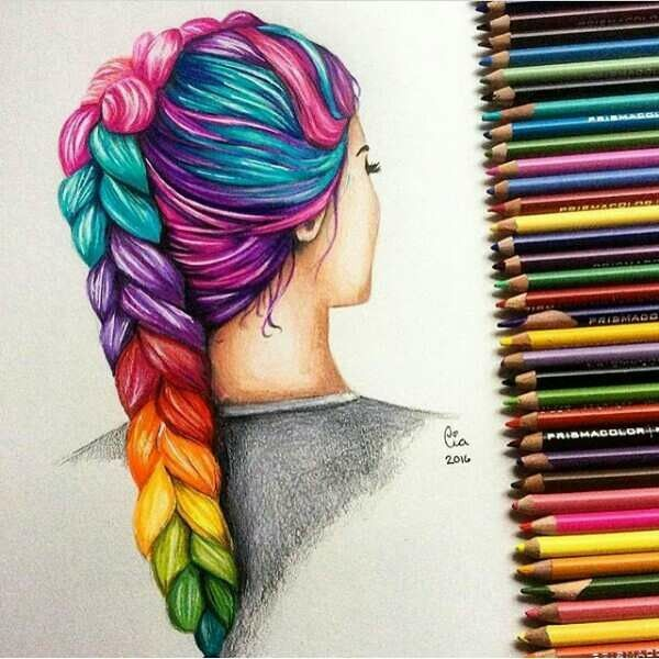 colored pencil art drawing braided hair in lots of colors colored
