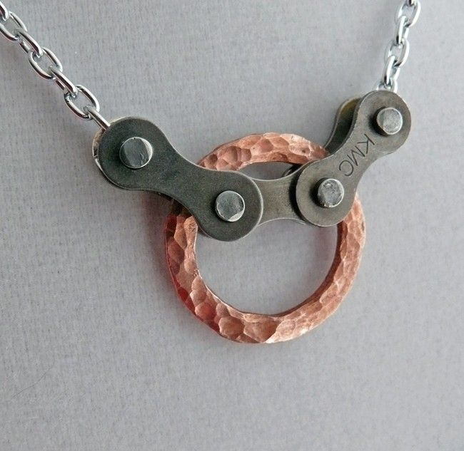 Hammered copper circle and bicycle chain bike jewelry. $20.00, via Etsy.
