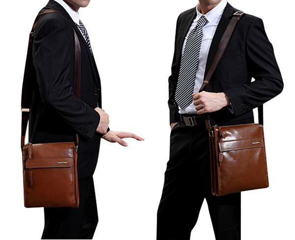 Men Genuine Leather Crossbody Bag Shoulder Messenger Briefcase