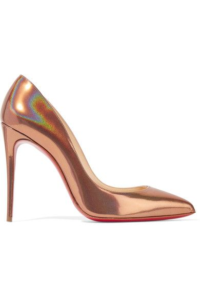 Heel measures approximately 100mm/ 4 inches Bronze patent-leather Slip on Designer color: Cappuccino  Made in ItalySmall to size. See Size & Fit notes.