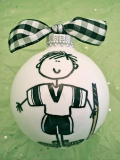 Hockey  Hand Painted Personalized Ornament by HappyYouHappyMe, $14.00