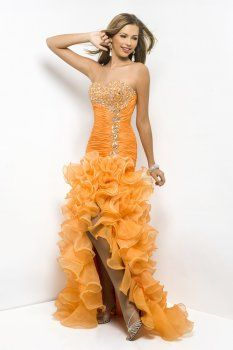 Arancio mermaid sweetheart organza abiti da ballo