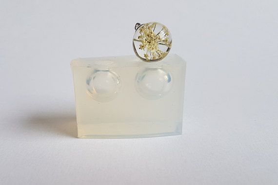 pendant mold for resin earrings mould Transparent silicone double mold for resin  jewelry 19 mm sphere ball ~4ml x 2