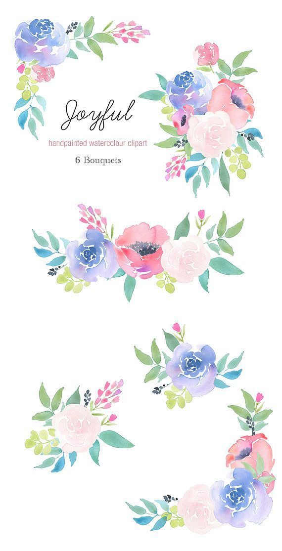 6 Watercolour Bouquets Clipart Joyful Colourful Flowers Blue