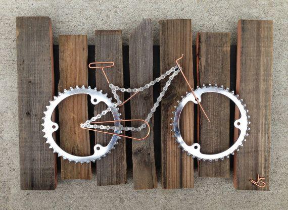 Artículos similares a Bicicleta de arte - Rustico en Etsy