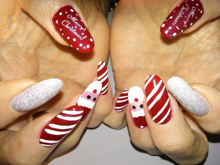 Best 25 santa nails ideas on pinterest xmas nail art nail art acrylic nails with stamped nail art on the thumbs and middle fingers and hand painted santa nail art on the ring fingers with gel top coat prinsesfo Choice Image