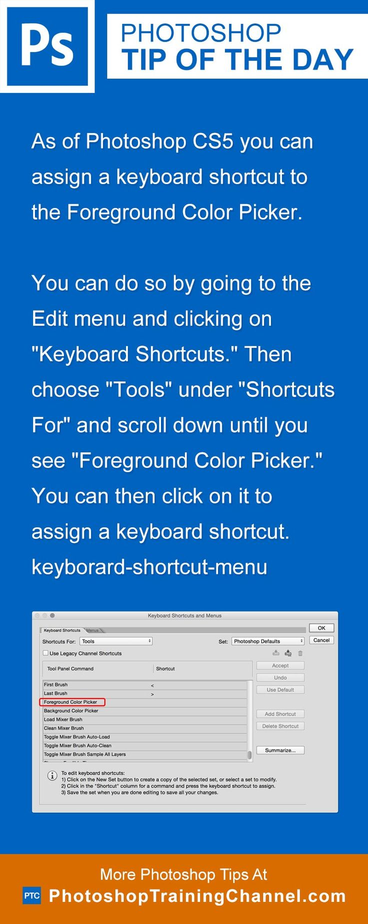 As Of Photoshop Cs5 You Can Assign A Keyboard Shortcut To The Foreground  Color Picker