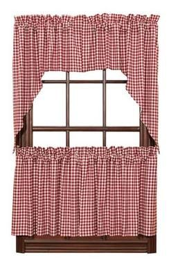 Red Check Gingham Cafe Curtains Tier Set Valance Kitchen New | EBay