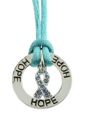 cancer necklaces for women | Ovarian Cancer Awareness Jewelry Teal Ribbon Necklace
