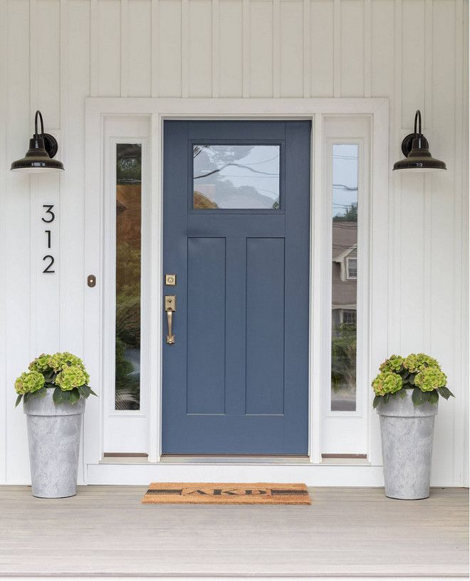 What Is The Difference Between Interior And Exterior Paint: Beautiful Front Entry, Door Colour Is Newburyport Blue HC