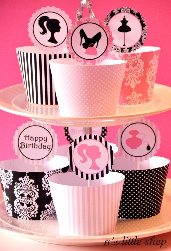 FASHION PARTY cupcake wrappers and 2 inch circle by nslittleshop, $4,50