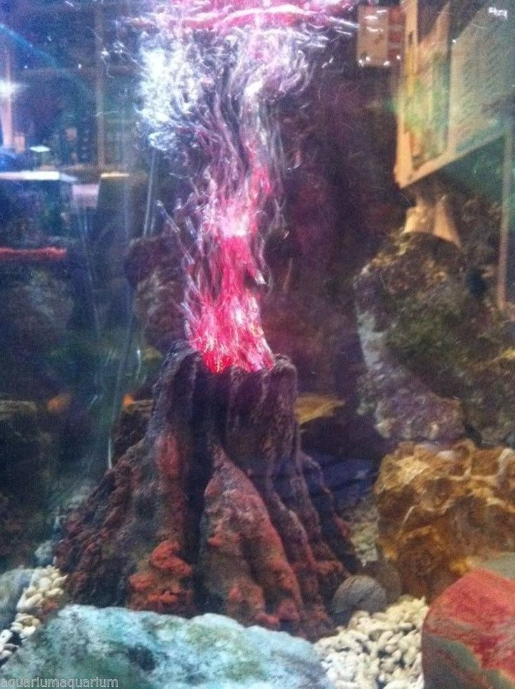 Aquarium Fish Tank Ornament Erupting Volcano With Red Led Light *Included* in Home & Garden, Pet Supplies, Fish | eBay