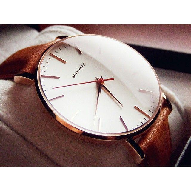 [ Watch: Brathwait Classic Slim Wristwatch: Top Grain Italian Calf Leather Strap ]