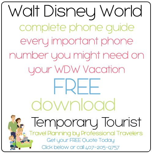Important phone numbers for when you are on vacation at Walt Disney World