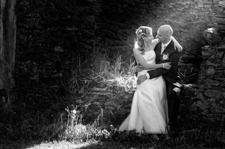 Kateřina & Ladislav - Happy young bride and groom on their wedding day. Wedding couple - new family! wedding dress. Bridal wedding bouquet of flowers
