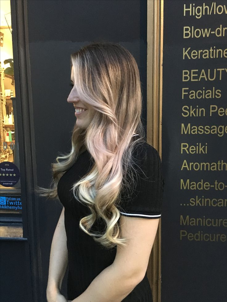 Easilocks hair extensions with a pink haze peeking through