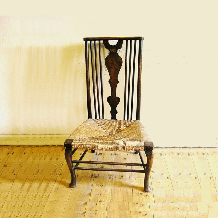 Antique Irish wood and wicker chair Nursing Chair cane seat from Ireland Queen Ann claw legs fiddle backed by TheIrishBarn on Etsy