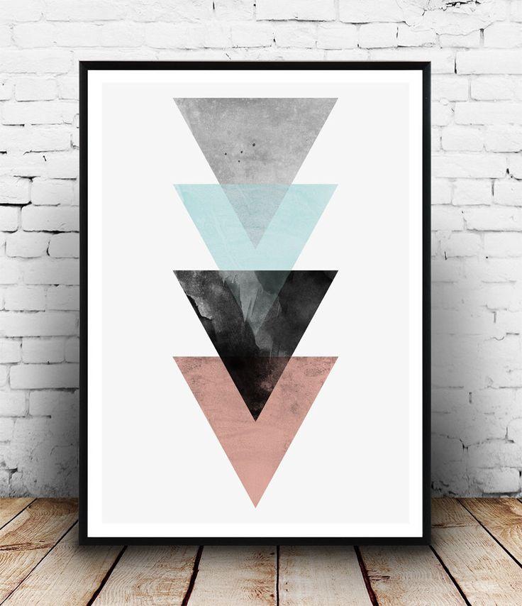 Driehoeken print, abstracte poster met geometrische print, roze grijs, minimalistische print, Scandinavische design, Home decor, kunst aan de muur, aquarel afdrukken door Wallzilla op Etsy https://www.etsy.com/nl/listing/251777272/driehoeken-print-abstracte-poster-met