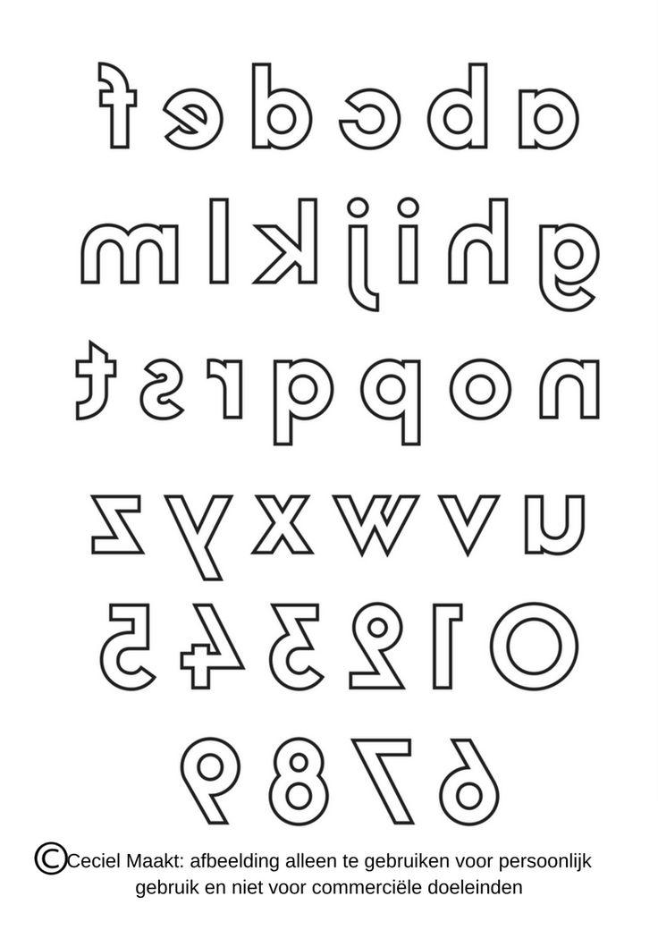 Gratis sjabloon van het #alfabet en #letters in spiegelbeeld voor bv namen en cijfers bij een #geboorteaankondiging #verjaardag #feest #quote #seizoen voor het maken van een #krijtstifttekening gemaakt door #cecielmaakt Zie ook op mijn andere bord voor nog meer #freebies voor een #raamtekening #raamdecoratie #windowdrawing #freebie #gratis