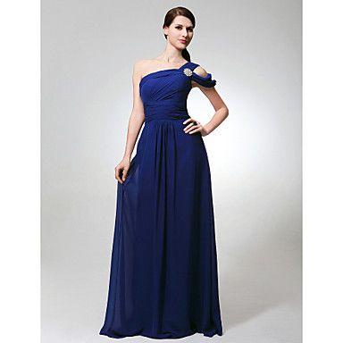 Sheath/ Column One Shoulder Floor-length Chiffon Bridesmaid Dress. Look at color in lilac, grape, or regency – USD $ 129.99