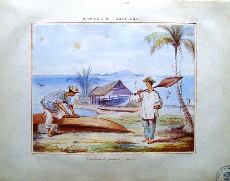 """Fabricantes de faluchos i canoas"". Provincia de Barbacoas. Dibujo de Manuel María Paz, 1853."