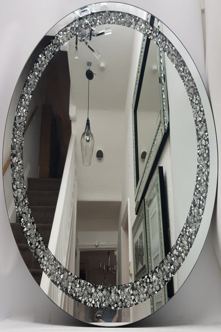 Diamond Crush Diamante Crystal Large Silver Sparkly Round Wall Mirror 70cm Ebay Mirror Wall Round Wall Mirror Mirror Design Wall