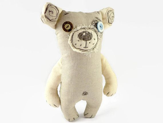 Stuffed Teddy Bear, Handmade Linen Bear, Under 30 Gifts