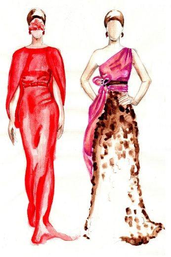 Aquarelle fashion drawings #ILLANGO #fashiondesign